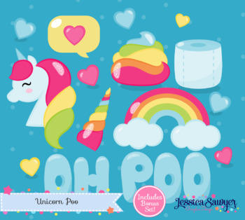Unicorn Clipart and Kawaii Rainbow Poo