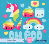 Unicorn Clipart and Kawaii Rainbow Poo