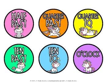 Unicorn Clock Labels