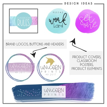 Unicorn Color Clip Art - Watercolor Circles & Brushstrokes