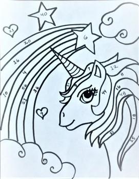 Unicorn Color & Solve (Addition/Multiplication)