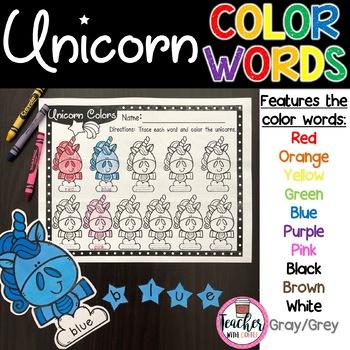 Unicorn Color Words