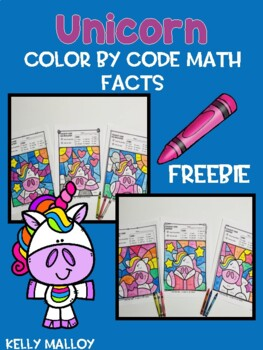 Unicorn Color by Number Math Facts Freebie by Kelly Malloy ...