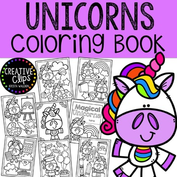 Unicorn Coloring Pages {Made by Creative Clips Clipart} | TpT