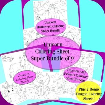 Unicorn Coloring Sheet Super Bundle