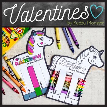 Unicorn Coloring Valentine Crayon Hugger
