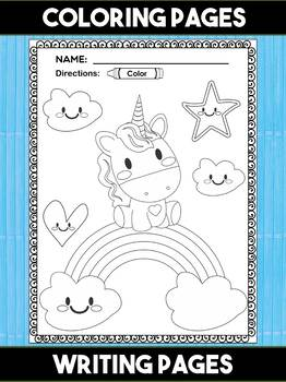 Unicorn Coloring and Writing Pages