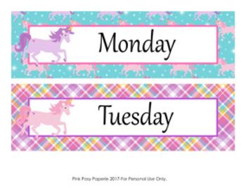 Unicorn Days of the Week Calendar Headers