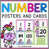Unicorn Classroom Theme - Number Posters 1-20 With 10 Frames