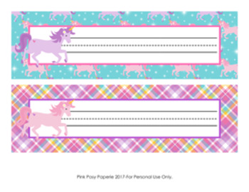 Unicorn Desk Name Plates Classroom Decor