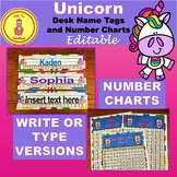 Unicorn Desk Name Tags with Number Line Editable and Numbe