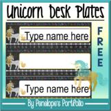 FREE Desk Plates / Name Plates - Unicorn Chalkboard Theme