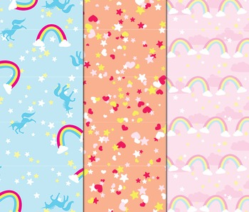 Unicorn Digital Paper, Unicorn Confetti, Background Paper, Birthday Scrapbook