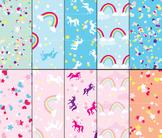 Unicorn Digital Paper, Unicorn Confetti, Background Paper,