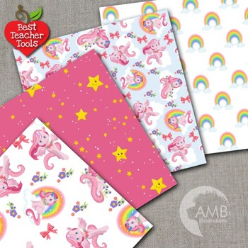 Unicorn Digital Papers, Rainbow Unicorns, {Best Teacher Tools} AMB-1384