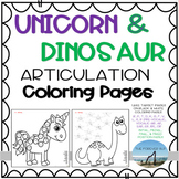 Unicorn & Dinosaur Articulation Coloring Pages + Digital /
