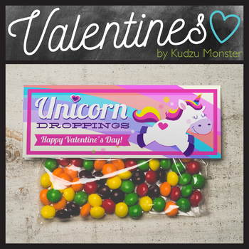 Unicorn Dropping Valentine Treat Topper