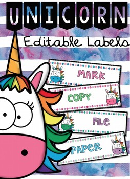 Unicorn EDITABLE Lablels