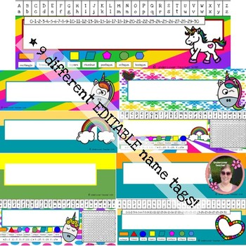 Unicorn EDITABLE Name Tag Set, Colorful, Type or Write