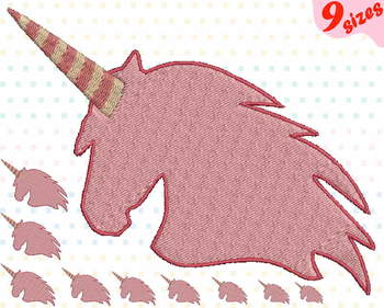 Unicorn Embroidery Design file 4x4 5x7 hoop forest horse pink horn birthday 126b
