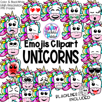 HTP Clip Art Unicorn Emojis {The Happy Teacher's Palette}