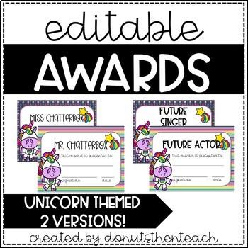 Unicorn End of Year Awards - Editable!