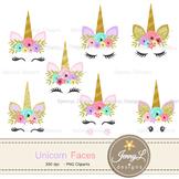 Unicorn Faces Clipart, Flower Unicorn, Glitter Unicorn