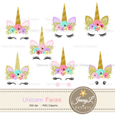 Unicorn Faces Clipart, Flower Unicorn, Glitter Unicorn