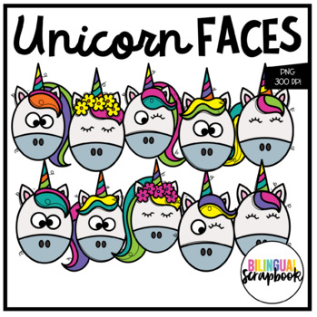 Unicorn Faces FREEBIE (Clip Art for Personal & Commercial Use)