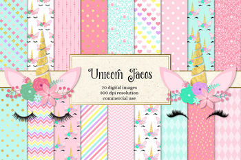 Unicorn Faces Digital Paper Rainbow Pastel And Gold