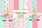 Unicorn Faces digital paper, rainbow pastel and gold backgrounds