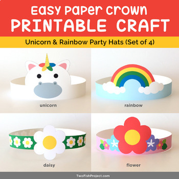 Unicorn Fairytale Printable Paper Crown Craft, Costume for Kids/Toddler, Hat