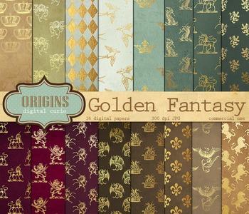 Unicorn Fantasy Medieval Heraldic Crest Digital Paper Backgrounds