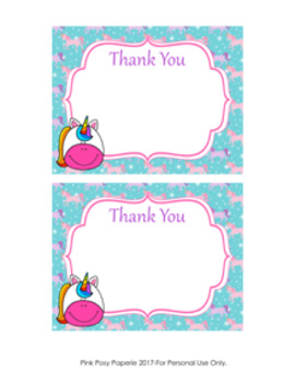 Unicorn Flat Thank You Note Cards