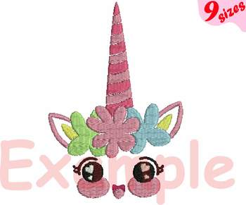 Unicorn Flower Designs for Embroidery Machine digital file 4x4 5x7 hoop 132b