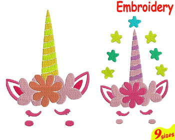 Unicorn Flower Designs for Embroidery Machine digital file 4x4 5x7 hoop 77b