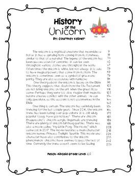 Unicorn Fluency Passage and Comprehension Activities