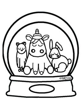 Unicorn & Friends - Snow Globe Coloring Page (2 pages)