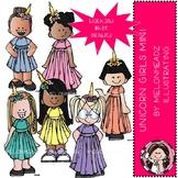 Unicorn Girls clip art - Mini - Melonheadz Clipart