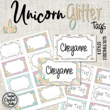 Unicorn Glitter Tags, Badge Tags, Coat Hook Tags