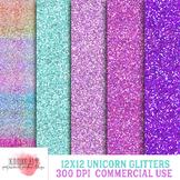 Unicorn Glitters Digital Paper, 12x12 inch, 300 dpi, Paste