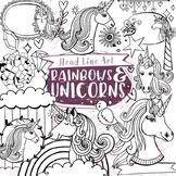 Unicorn Head Black Line Art Illustrations, Fairytale Story, Rainbows and Clouds