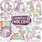 Unicorn Head ClipArt, Fairytale Story, Rainbows and Clouds