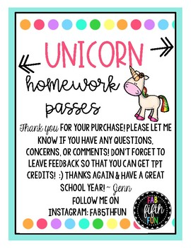 Unicorn Homework Passes