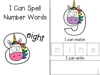Unicorn I Can Spell Number Words Adapted Book