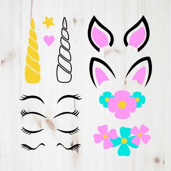 Unicorn Kit, Unicorn Creator Set, Horn, Head, Eyelashes, Unicorn Clipart