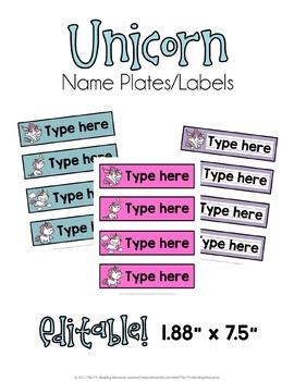 Unicorn Labels/Name Plates EDITABLE