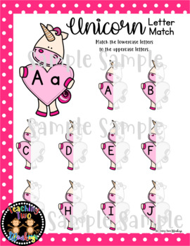 Unicorn Letter Match Interactive File Folder Activity and Puzzle