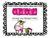 Letter and Number Mats - Unicorn Theme