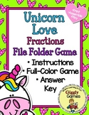 Unicorn Love Fractions File Folder Game